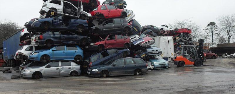 Scrap cars in yard